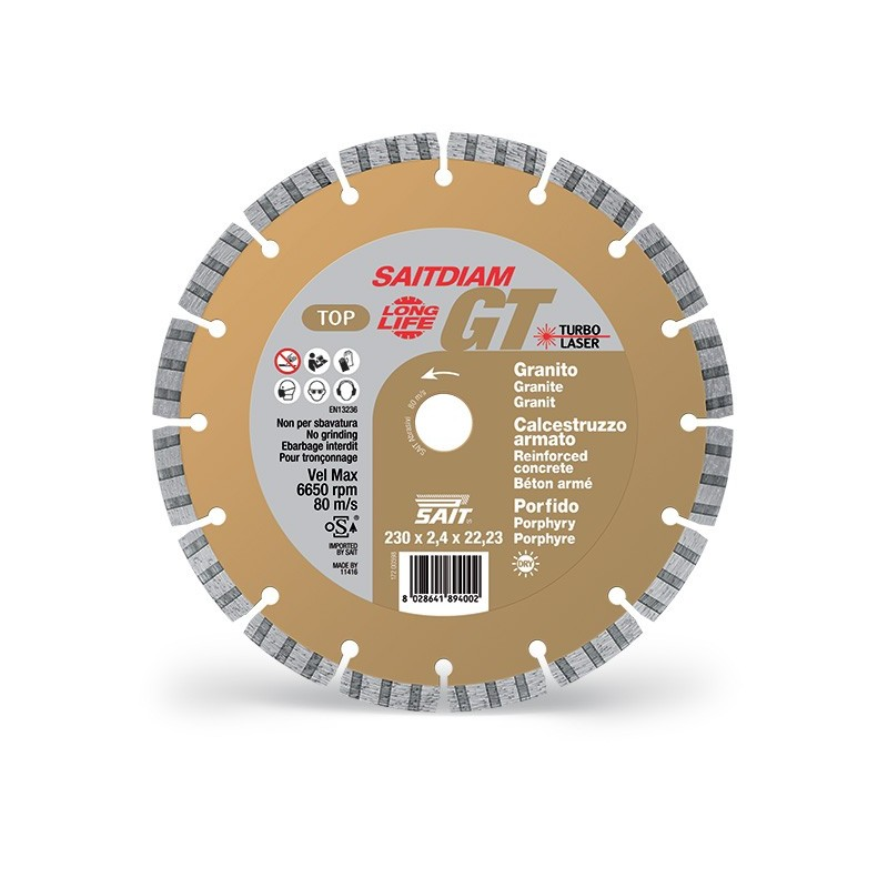 SAIT Abrasivi Saitdiam Laser GT, Turbo, TOP, per Graniti, Calcestruzzi, Porfido