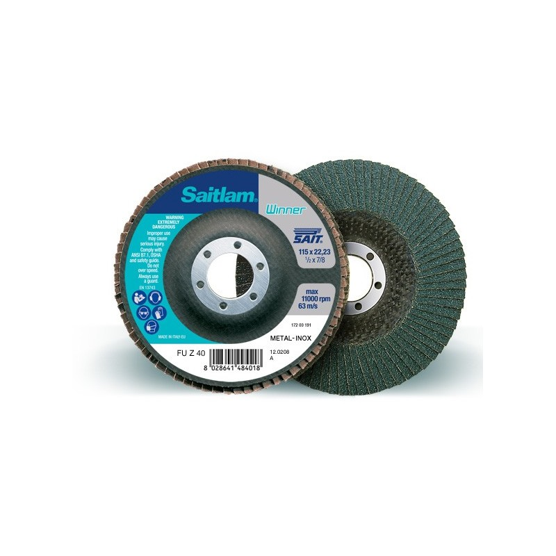 SAIT Abrasivi, Winner, Saitlam-FU A, Abrasive flat flap disc, for Metal Applications