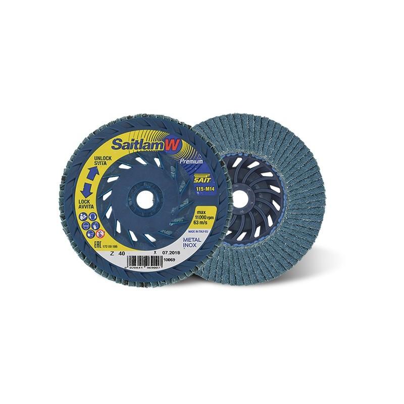 SAIT Abrasivi, Premium, Saitlam-W, Abrasive flat flap disc, for Steels, Stainless steels, Alloy steels, Non-ferrous metals