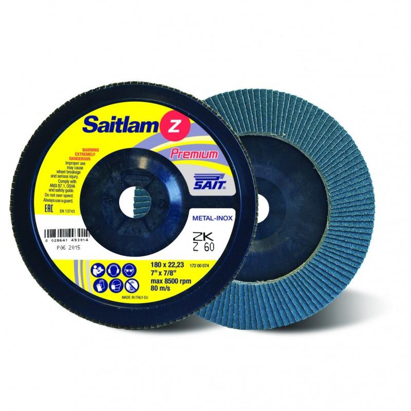 SAIT Abrasivi, Premium, Saitlam ZK Z, Disco abrasivo lamellare conico, per Applicazioni Metallo