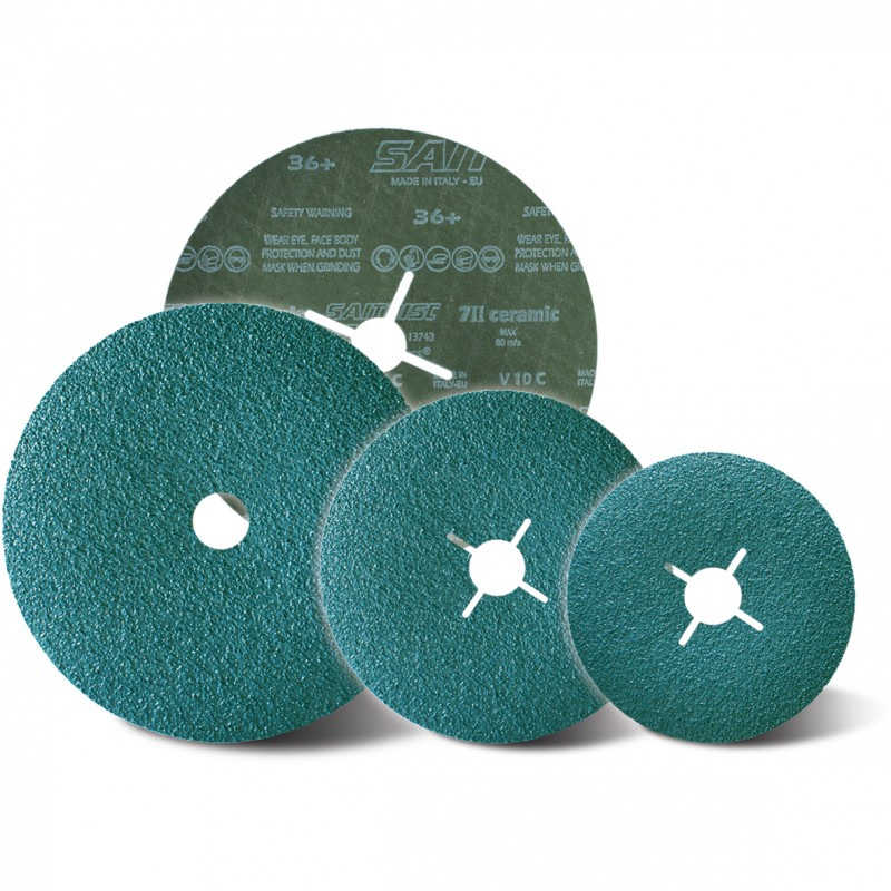 SAIT Abrasivi, Fibre Disc, Alluminium Oxide, Saitdisc 7 II, for Steel, Stainless Steel