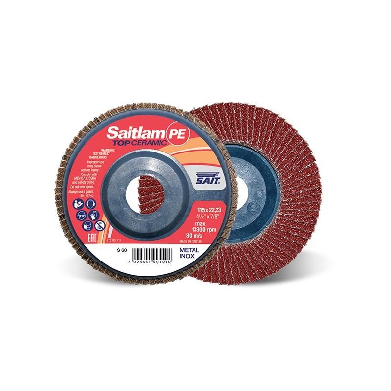 SAIT Abrasivi, TOP-Ceramic, Saitlam-PE, Disco abrasivo con láminas, para Aplicaciones de metal