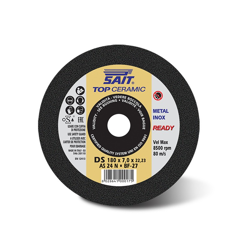 SAIT Abrasivi (Depressed Centre) Inox Grinding Wheel, Top Ceramic DS A24N, For use Steels, Alloy steels, Stainless steels