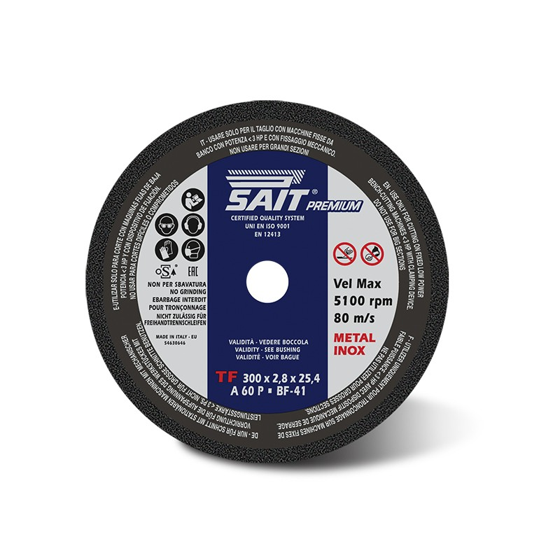 SAIT ABrasivi Type 41, Inox Cutting Wheel Fixed Machines, Premium TF A60P