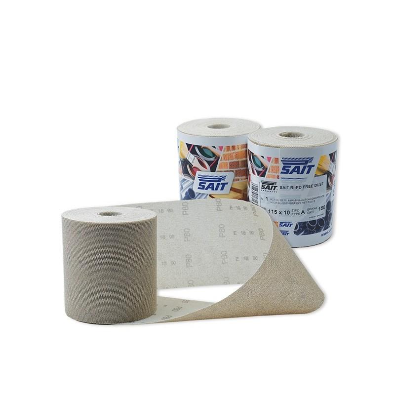 SAIT Abrasivi, RIFD Free Dust, Rollos con gancho y bucle en red de nylon, para Madera, Carroceria, Otras Aplicaciones